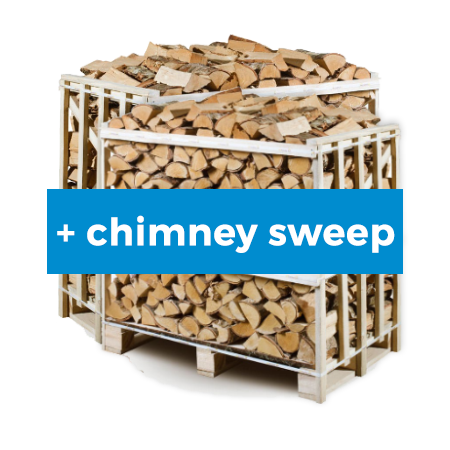 kiln dried firewood 2x1m3 crate with chimney sweep